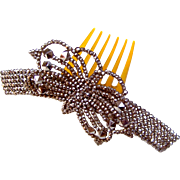 Victorian Cut Steel Hair Comb Hinged Butterfly Design Hair Accessory