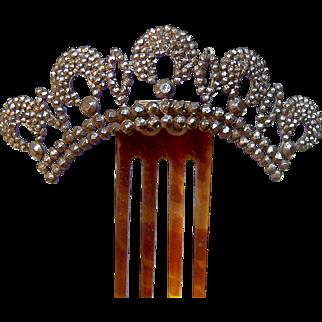 Victorian Cut Steel Hair Comb Hinged Tiara Design Hair Accessory