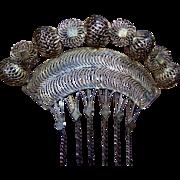 Vintage Gilt Metal Filigree Hair Comb Payneta Philippines Hair Accessory