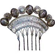 Vintage Gilt Metal Filigree Hair Comb Payneta Philippines Hair Accessory