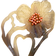 Art Nouveau Hair Comb Carved Painted Horn Coral Flower Hair Accessory