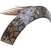 Victorian Hair Comb Hinged Islamic Design Enamel Hair Accessory
