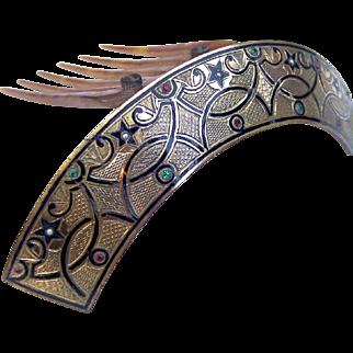 Victorian Hair Comb Hinged Islamic Design Enamel Hair Accessory