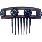 Victorian Mourning Hair Comb Dyed Horn Bone Inlay Hair Accessory