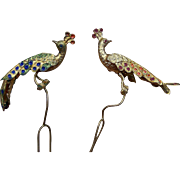 Two Hair Pins Enamel Figural Peacock Design Hair Accessory