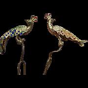 Two Hair Pins Enamel Figural Peacock Design Hair Accessory