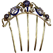 Victorian Back Comb Ornate Enamel Rhinestone Hair Accessory