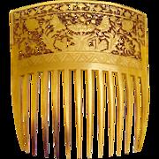 Georgian Hair Comb Carved and Pierced Steer Horn Hair Accessory