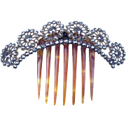 Cut Steel Hair Comb Victorian Hinged Tiara Style Hair Accessory