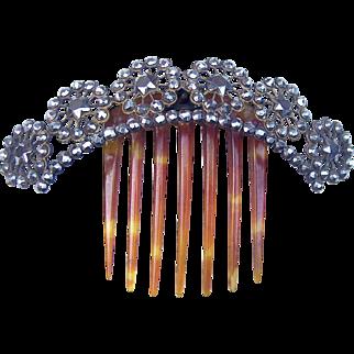 Cut Steel Hair Comb Victorian Hinged Tiara Style Hair Accessory