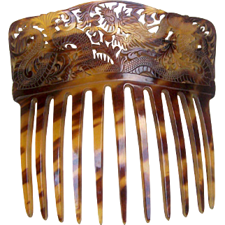Chinese Export Hair Comb Hand Carved Tortoiseshell Figural Dragon Hair Accessory