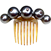 Victorian Big Pearl Balls Hair Comb Hinged Peigne Josephine Hair Accessory