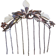 Anglo Indian Hair Comb Copper Bone Lotus Design Hair Accessory