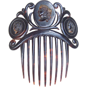 Victorian Faux Tortoiseshell Hair Comb with Cameos Hair Accessory