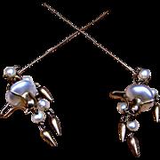 Pair Victorian Algerian Style Faux Pearl Dangles Hairpins