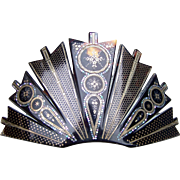 Victorian Tortoiseshell Hair Comb Hinged with Elaborate Pique Design