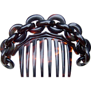 Victorian Faux Tortoiseshell Hair Comb Cable Chain Design