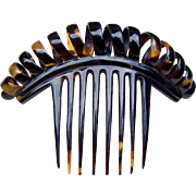 Victorian Faux Tortoiseshell Hair Comb in Corkscrew Design