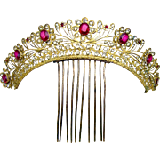 Georgian Tiara Hair Comb Gilt Filigree Metal with Paste Stones and Crystals