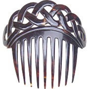 Victorian Tortoiseshell Comb with Openwork Loops or Plaited Design
