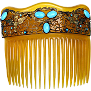 Late Victorian Hair Comb Blonde Celluloid with Turquoise Cabochon Design