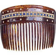 Late Victorian Hair Comb Faux Tortoiseshell with Faux Pearl Border Hair Accessory