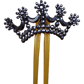 Victorian Cut Steel Hinged Hair Comb Coronet Style Hair Accessory