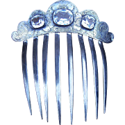 Early Victorian hair comb silver plated with crystals hair accessory