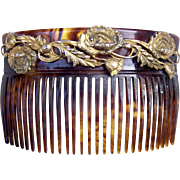 Art Nouveau Hair Comb Faux Tortoiseshell Embellished Hair Accessory