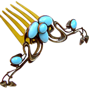 Art Nouveau Hinged Hair Comb with Faux Turquoise Cabochon Hair Accessory