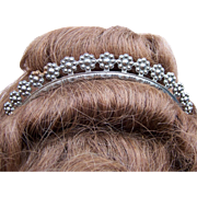 Georgian Cut Steel Tiara with Rosette Design Hair Accessory