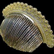 Georgian Fire Gilt Brass Tiara Hair Comb Classical Floral Design Hair Accessory