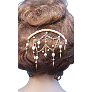 Victorian Pearl Dangles Hair Comb Algerian Moorish Style Hair Accessory