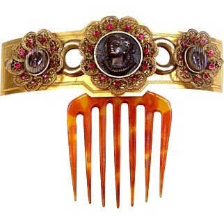 Victorian Archaeological Revival Tiara Comb with Cameo Embellishment Hair Accessory