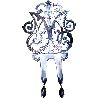 Edwardian Sterling Silver Hair Comb Pierced and Engraved Hair Accessory