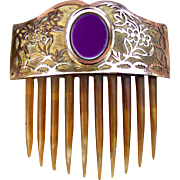 Georgian Hair Comb Fire Gilded Metal Hair Accessory