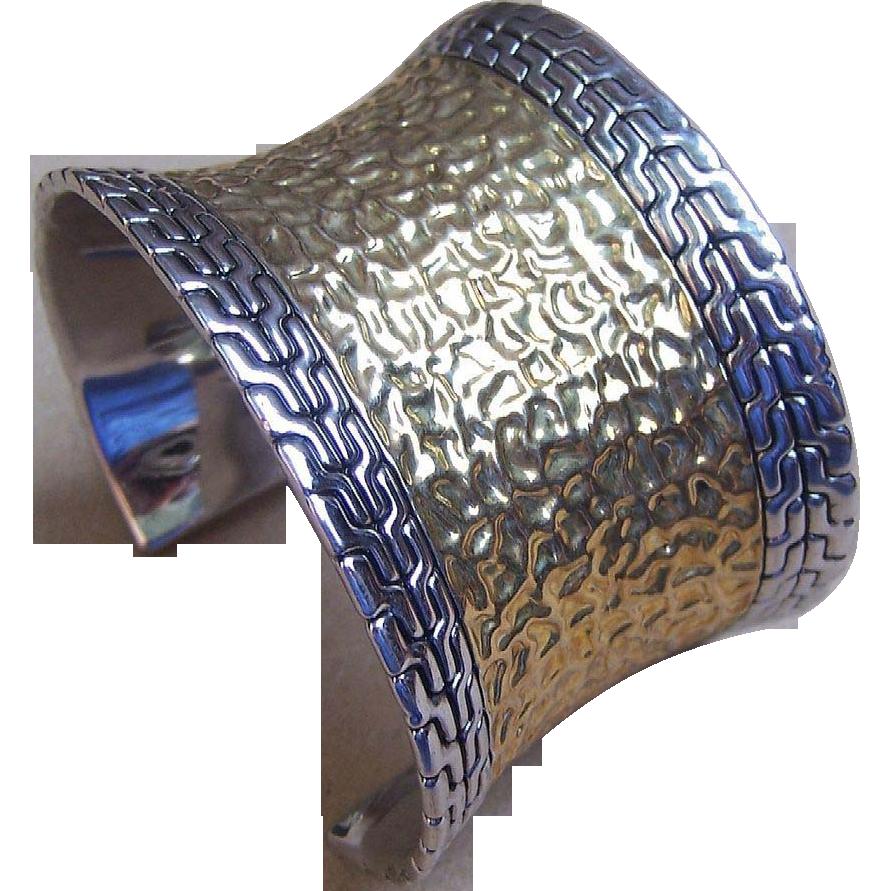 Vintage cuff bracelet hammered gold tone metal designer jewelry