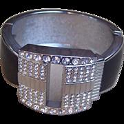 Vintage bangle clamper bracelet resin rhinestone encrusted designer jewelry (36)