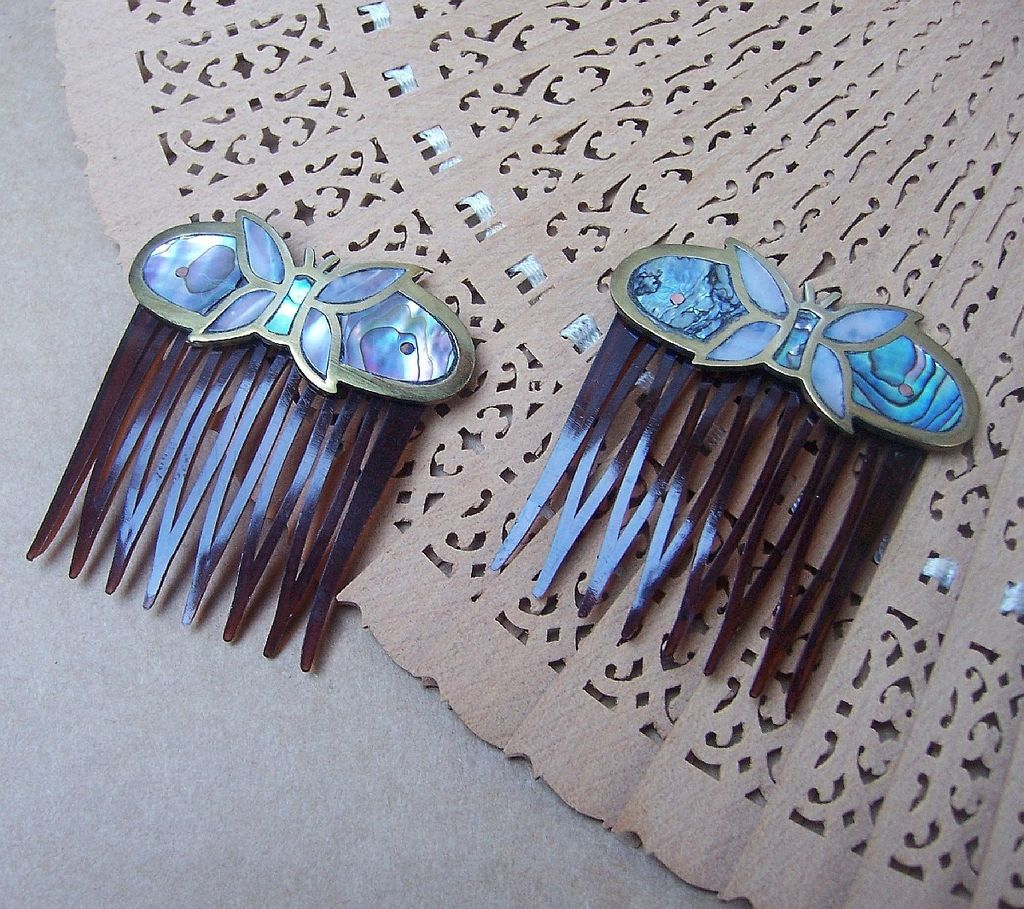 Butterfly hair accessories for weddings uk - Vintage Hair Combs 2 Mexican Brass Abalone Shell And Mother Of Pearl Butterfly