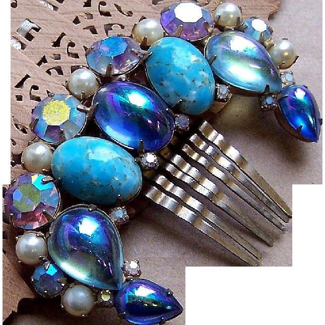 Vintage Hair Comb Hollywood Regency Blue Cabochon Hair Accessory