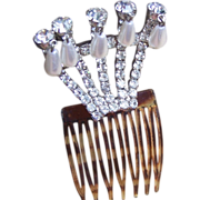 Hollywood Regency hair comb rhinestone with pearl dangles hair accessory