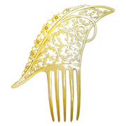 Art Deco Hair Comb asymmetric French Ivory Spanish Style Hair Accessory