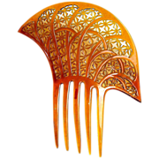 Art Deco Hair Comb Amber Celluloid Asymmetric Spanish Style Hair Accessory