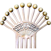 Art Deco Hair Comb French Ivory with Balls Hair Accessory