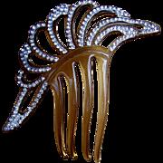 Art Deco Hair Comb Asymmetric Design with Clear Rhinestone Trim Hair Accessory