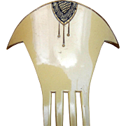 Unusual Art Deco Hair Comb French Ivory Egyptian Revival Hair Accessory
