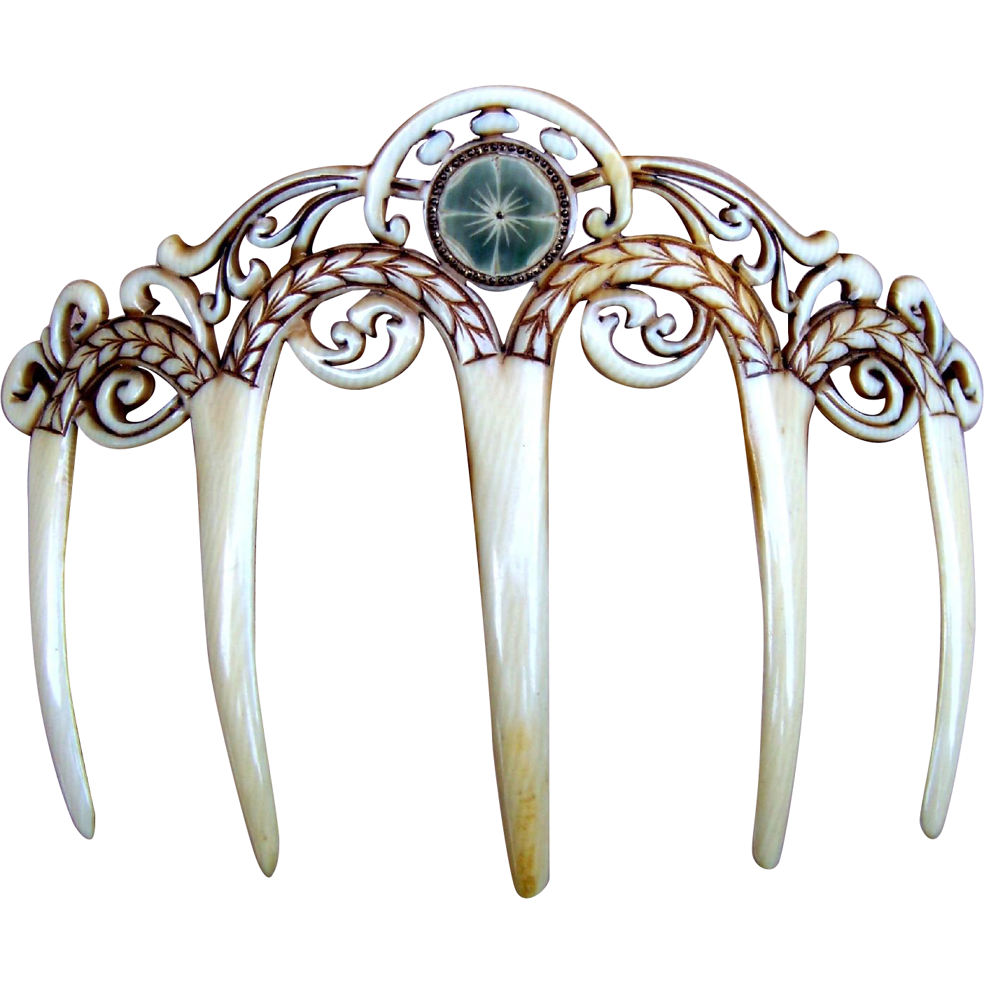 Art Deco Hair Comb French Ivory Carved Hair Accessory