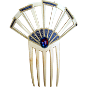 Art Deco Hair Comb Egyptian Revival French Ivory Hair Accessory