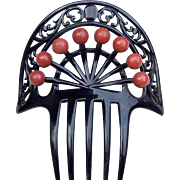 Art Deco Hair Comb in Celluloid with Decorative Balls Hair Accessory