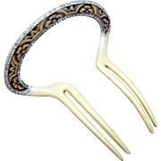 Art Deco Hair Comb French Ivory Rhinestone Unusual Design